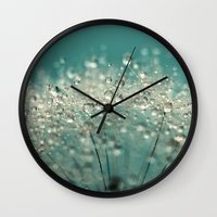 sparkles Wall Clocks featuring Cyan Sparkles by Sharon Johnstone