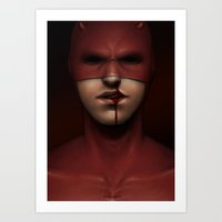 daredevil Art Prints featuring daredevil by Sylvie R.