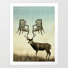 louis xv stag chairs Art Print