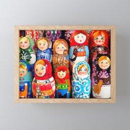 Culture. Group of matrioska, or babushka, symbol of maternity from Russia. Framed Mini Art Print