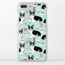 Welsh Corgi tri colored coffee lover dog gifts for corgis cafe latte pupuccino Clear iPhone Case