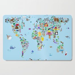 Animal Map of the World Cutting Board