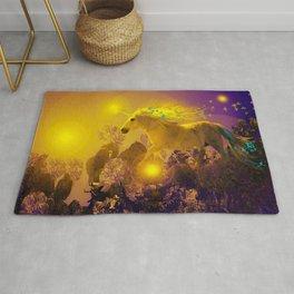 Unicorn In The Night Of Glow - My Fantasy Garden #decor #society6 #buyart Rug