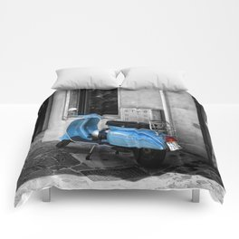 Blue Vespa in Venice Black and White Color Splash Photography Comforters