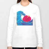 hokusai Long Sleeve T-shirts featuring Hokusai Rainbow & Hibiscus_R  by FACTORIE