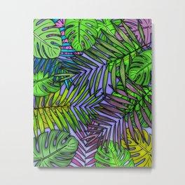 Palm & Monstera Leaves Metal Print