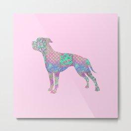 American Bulldog Vintage Floral Pattern Pastel Pink Turquoise Mint Metal Print