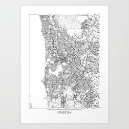 Perth Map White Art Print