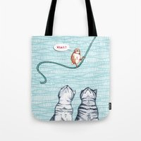 clueless Tote Bags featuring What? by Alibabaform