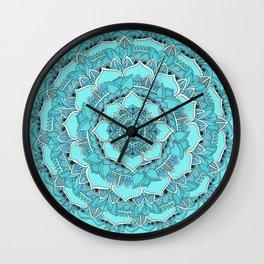 Mandala: Floral Blues Wall Clock