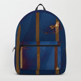 Electric Blue Abstract with Gold Stripes Backpack