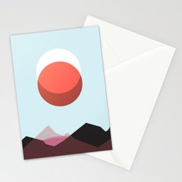 Minimalist Red Moon Lunar Eclipse with Mountains Stationery Cards