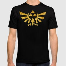 Zelda Golden Hylian Crest MEDIUM Black Mens Fitted Tee