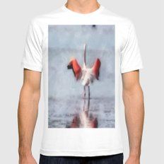 The Pink Flamingo in Watercolor Mens Fitted Tee MEDIUM White
