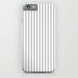 Mattress Ticking Narrow Striped Pattern in Charcoal Grey and White iPhone Case