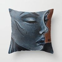 "indigo Throw Pillows featuring Indigo by Barbora ""Mad Alice"" Urbankova"