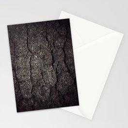Cracked asphalt road Stationery Cards