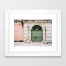 Old wooden green doors in Italy | Wanderlust travel photography art Framed Art Print