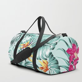 Bird of Paradise Greenery Aloha Hawaiian Prints Tropical Leaves Floral Pattern Duffle Bag