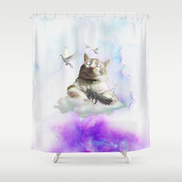 mi$hka the tra$hkat Shower Curtain