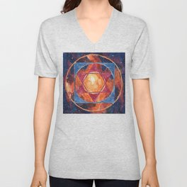 Universal Diagram Abstract Sacred Geometry Watercolor Unisex V-Neck