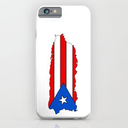 Puerto Rico Map with Puerto Rican Flag iPhone Case