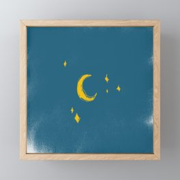 Looking at you Moon Framed Mini Art Print