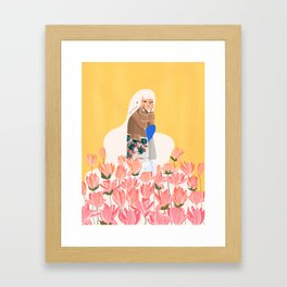 Waiting in bunk of flowers Framed Art Print
