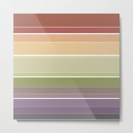 Striped in brown and green tones and a simple pattern . Metal Print