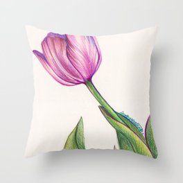 Purple Tulip in Colored Pencil Throw Pillow