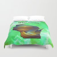 wisconsin Duvet Covers featuring Wisconsin Map by Roger Wedegis