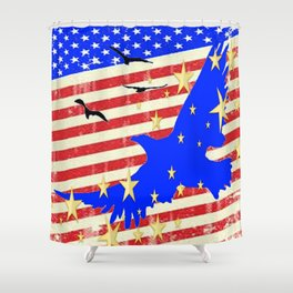 JULY 4TH PATRIOTIC BLUE EAGLE & STARS Shower Curtain