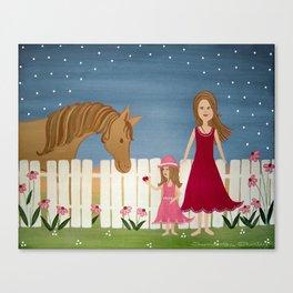 Apple Blossom (Blue Skies) - Girl & Horse Kids Art Canvas Print