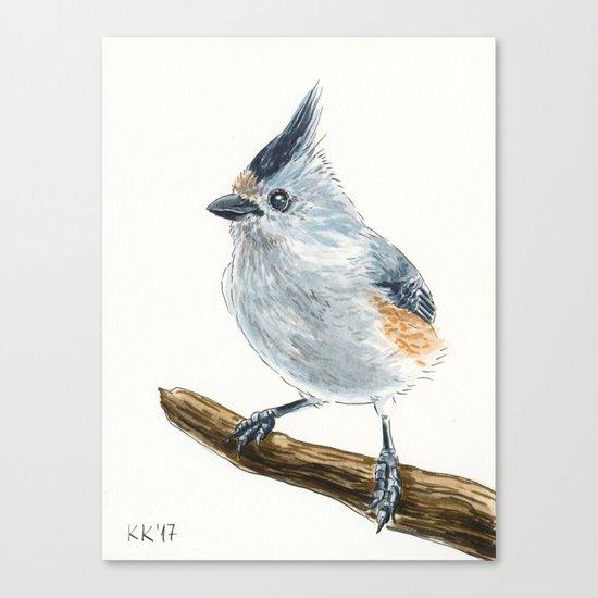 Titmouse bird watercolor Canvas Print