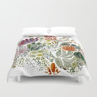 succulents Duvet Covers featuring Succulents  by Hannah Margaret Illustrations