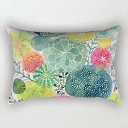 Succulent Circles on Pink Rectangular Pillow