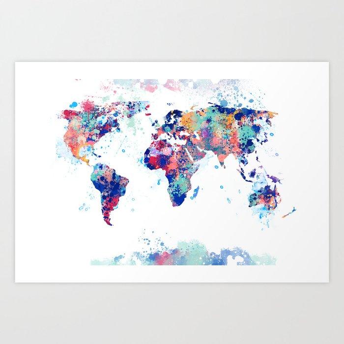 Coloful Splatter World Map Art Print by dimdom