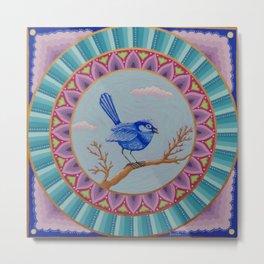 Pretty Blue Wren Mandala Metal Print