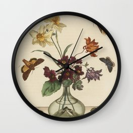 Glass Vase With Flowers and Butterflies Wall Clock