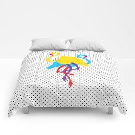 Animal Mardi Gras (Flamingo Yellow Blue) Comforters
