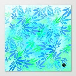 Blue Mint Cannabis Swirl Canvas Print