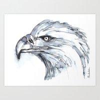 Eagle Portrait (Watercolor Sketch) Art Print