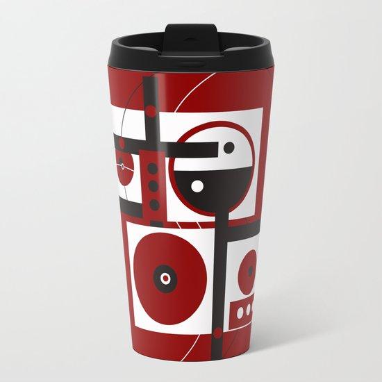 Geometric/Red-White-Black 2 Travel Mug