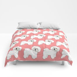 Bichon on coral Comforters
