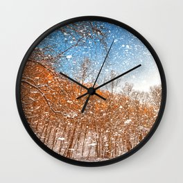 Snow Spattered Winter Forest Wall Clock