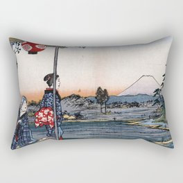 The Teahouse with the View of Mt. Fuji at Zōshigaya Rectangular Pillow
