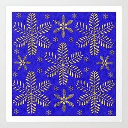 DP044-4 Gold snowflakes on blue Art Print