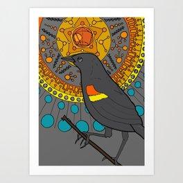 redwing blackbird and pentagon Art Print