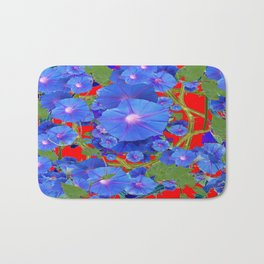 CHINESE RED & BLUE MORNING GLORIES ART  Bath Mat