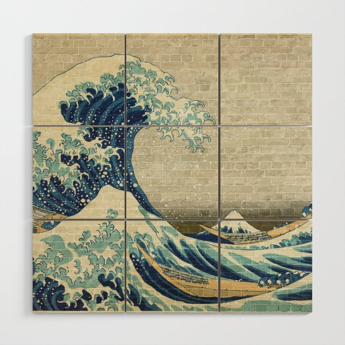 Brick Wall Painting Japanese Great Wave Off Kanagawa Urban Artist Wood Wall Art By Urbanartist